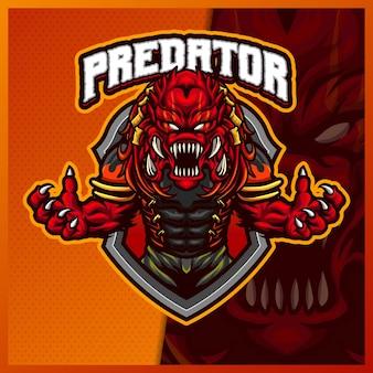 Predatore alieno mostro mascotte esport logo design illustrazioni modello, diavolo stile cartone animato