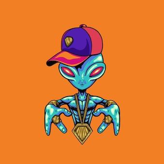 Illustrazione di rapper alieno