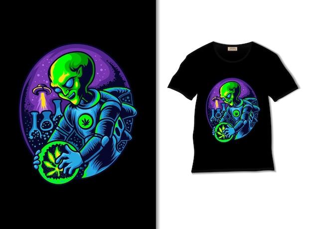 Ricerca aliena sull'illustrazione della cannabis con il design della maglietta