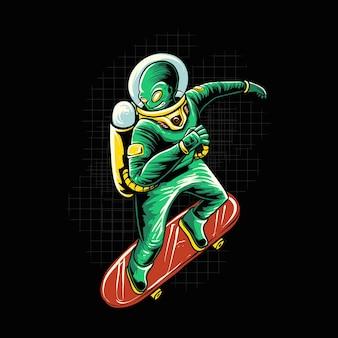 Alien ride skateboard isolato sul nero