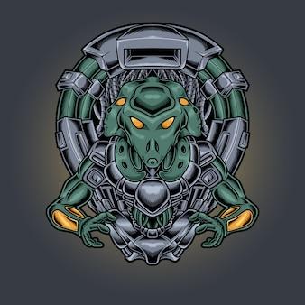 Illustrazione di stile cyberpunk robotico alieno