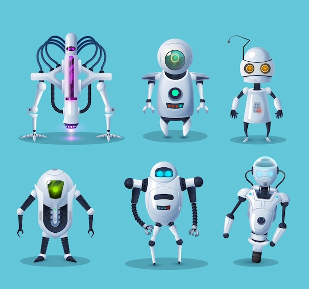 Robot alieni, personaggi dei cartoni animati di tecnologia del futuro androidi impostati