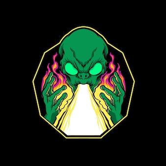 Illustrazione di attacco laser sparare alieno