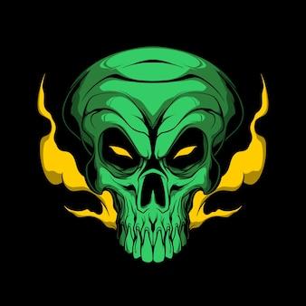 Illustrazione del cranio alieno