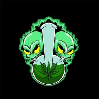 Alieno che fuma un'illustrazione di marijuana