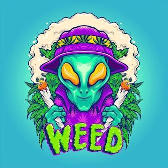 Alien smoking summer cannabis plants illustrazioni vettoriali per il tuo lavoro logo, t-shirt di merchandising per mascotte, adesivi e design di etichette, poster, biglietti di auguri che pubblicizzano aziende o marchi.