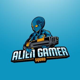 Logo dell'esport della mascotte del soldato alieno