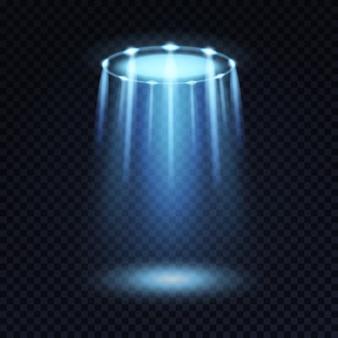 Astronave aliena magica raggio blu brillante