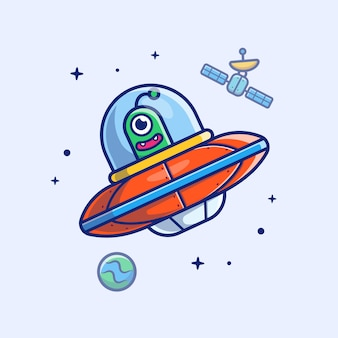 Icona alien spaship. satellite straniero dello spaship, pianeta e stelle, bianco dell'icona dello spazio isolato