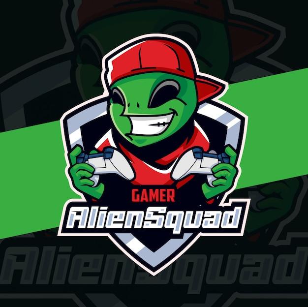 Alien squad gamer mascotte esport logo design