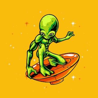 Alieno nell'illustrazione ufo