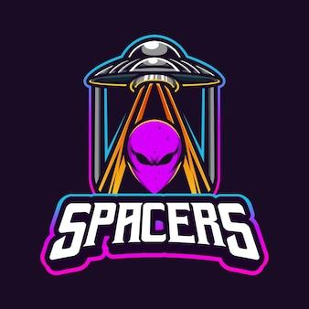 Logo di esport di gioco mascotte alien e ufo space