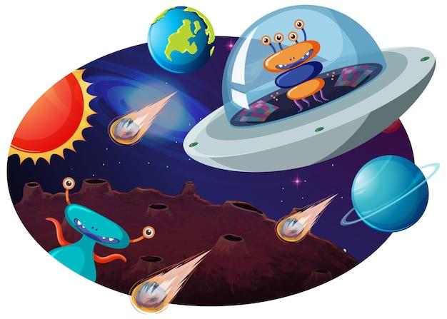 Alieno in ufo con molti pianeti e asteroidi