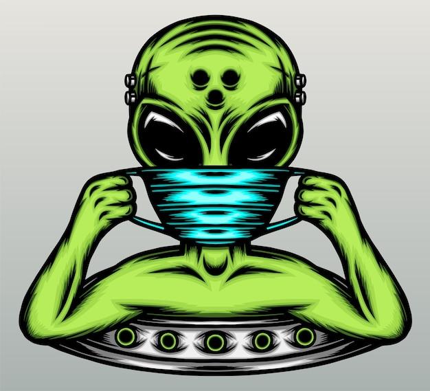 Alieno che indossa una maschera