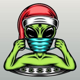 Alieno con cappello natalizio e maschera.
