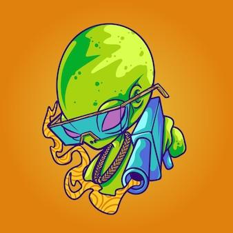Alieno con illustrazione di pistola