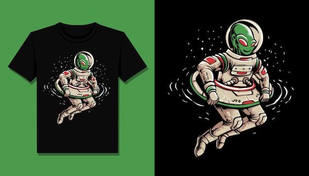 Alieno con disegno di illustrazione ufo