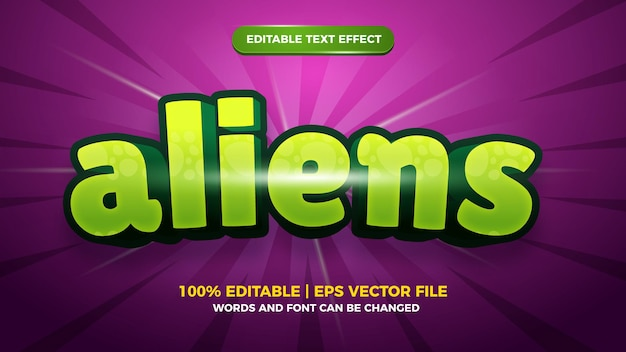 Modello di effetto di stile di testo modificabile 3d fumetto comico alieni alien