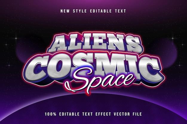 Alieni spazio cosmico modificabile effetto testo moderno stile neon