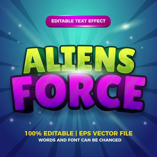 Gli alieni forzano il modello di effetto stile testo modificabile dei cartoni animati