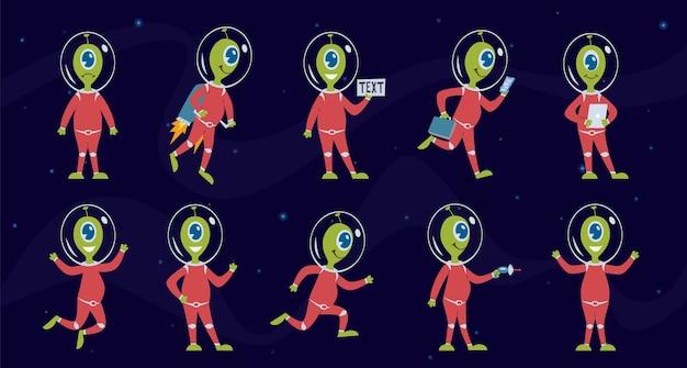 Alieni divertente umanoide dello spazio verde in tuta spaziale ufo pilota alieno in diverse attività