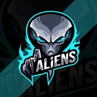Aliens mascot logo esport design modello
