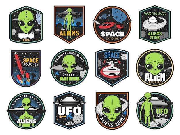 Icone di alieni, area ufo e navette spaziali