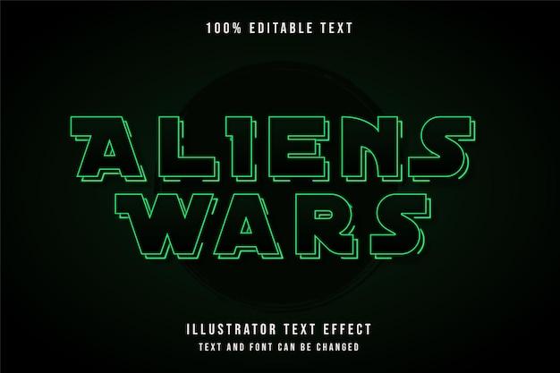 Guerre aliene, testo modificabile effetto gradazione verde ombra al neon stile di testo