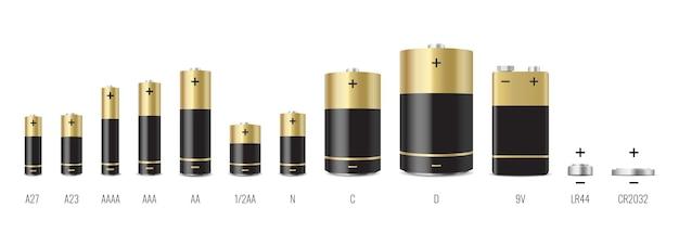 Set realistico di batterie alcaline. diversi tipi di batterie isolati su sfondo bianco. dimensioni: d, c, aa, aaa, aaaa, 9v. illustrazione vettoriale 3d
