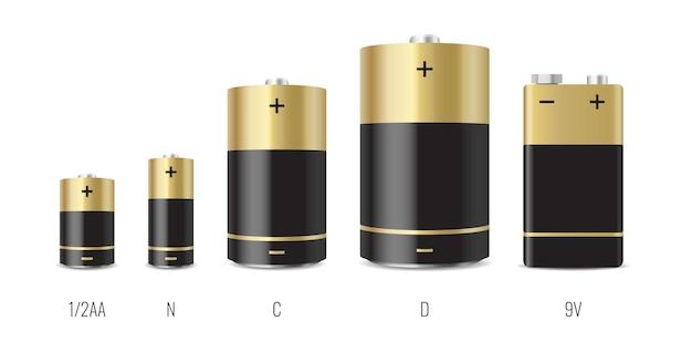Insieme di stile realistico di batterie alcaline di diverse dimensioni isolato su bianco