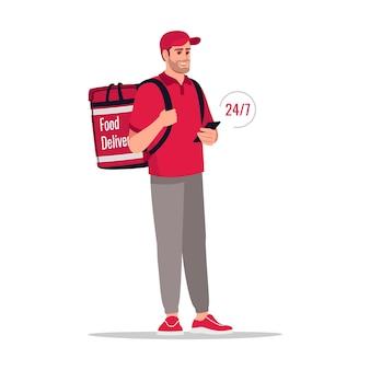 Tutto il giorno consegna pacchetto semi piatto rgb illustrazione vettoriale a colori. 24 7 servizi di corriere per la spedizione 24 ore su 24. corriere maschio caucasico in uniforme rossa isolato personaggio dei cartoni animati su sfondo bianco