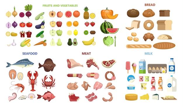 Tutto il cibo impostato. frutta e verdura, carne e diario, frutti di mare e pane.
