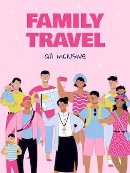 Poster di viaggio per famiglie tutto compreso con persone dei cartoni animati in vacanza estiva