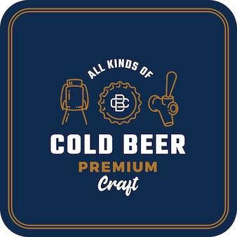 Tutti i tipi di birra fredda. segno astratto di birra, logo o modello di sottobicchiere. Vettore Premium