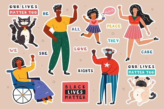Tutte le vite contano. diverse razze persone con le mani in alto. uomo, donna, bambino, invalido. colore della pelle scuro e chiaro. no razzismo. posizione sociale attiva. diritti degli animali.