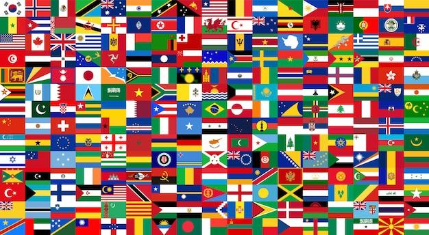 Tutte le bandiere nazionali del mondo. stile di sfondo