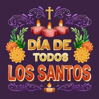 Iscrizione di giorno di tutti i santi con candele