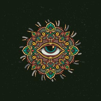 Tutto l'occhio vedente mandala illustration del fiore
