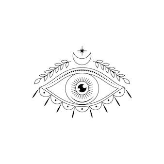 Tutto l'occhio vedente in stile arte linea su sfondo bianco.