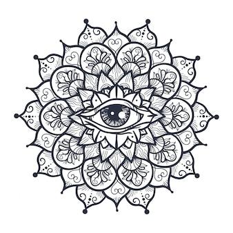 All seeing eye in mandala