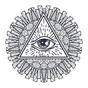 All seeing eye in triangle and mandal Vettore Premium