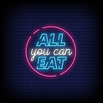 Tutto quello che puoi mangiare testo in stile insegne al neon