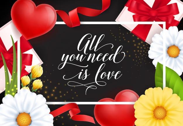 Tutto ciò di cui hai bisogno è amore lettering festivo