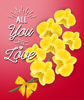 Tutto ciò di cui hai bisogno è amore lettering e fiori