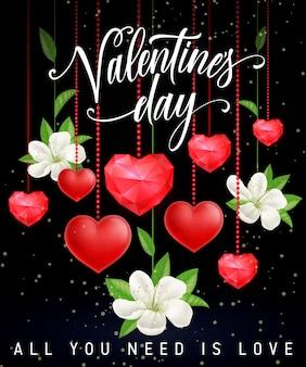 Tutto ciò di cui hai bisogno è amore lettering with hearts