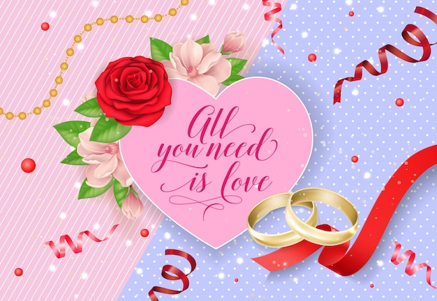 All you need is love lettering con anelli