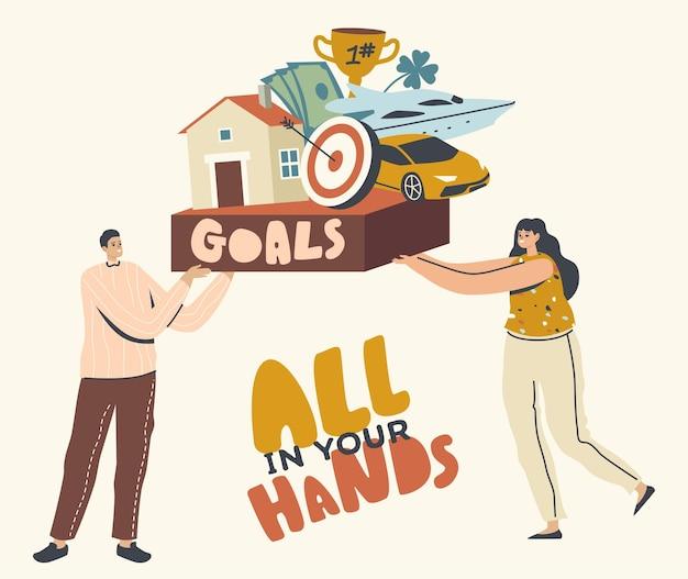 Tutto nelle tue mani, concetto di raggiungimento degli obiettivi