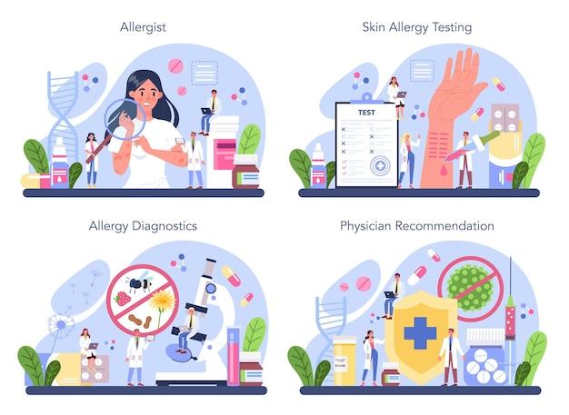 Insieme di concetto di allergologo. malattia con sintomo allergico, diagnostica allergologica medica, test e trattamento. prenditi cura della salute.