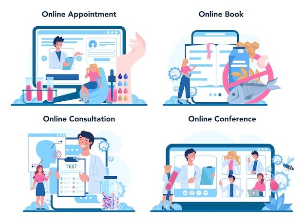 Servizio online per allergici o set di piattaforme
