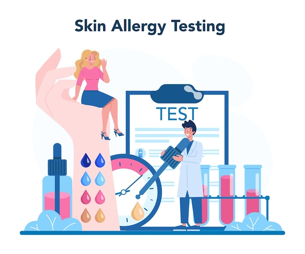 Allergologo. test di allergia cutanea